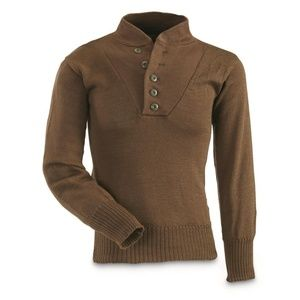 MANS OD BROWN ACRYLIC WWI  MILITARY SWEATER 00178